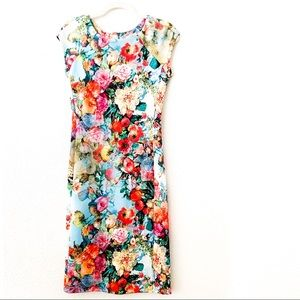 Eci Floral Cap Sleeve Scuba Sheath Dress💐